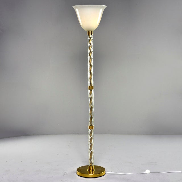 Murano Glass and Brass Floor Lamp For Sale - Image 10 of 11