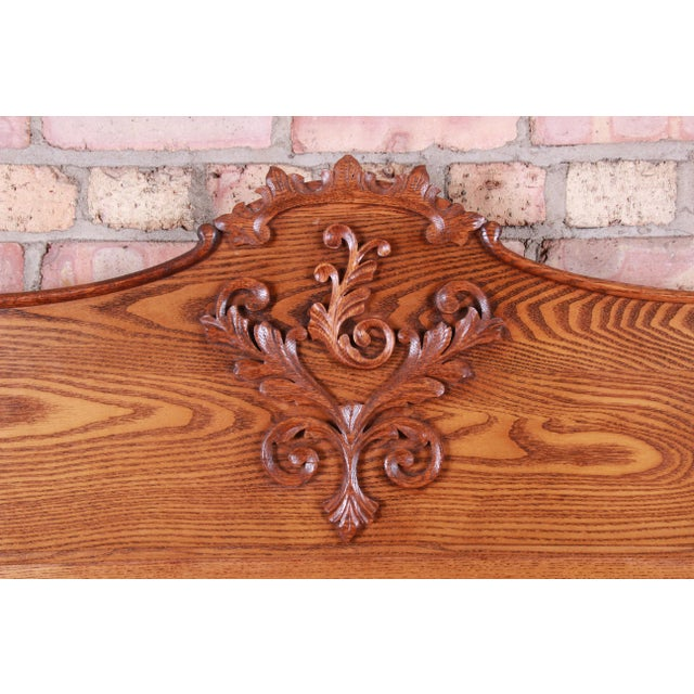 Wood Antique Carved Oak Full Size Bed, Circa 1900 For Sale - Image 7 of 9
