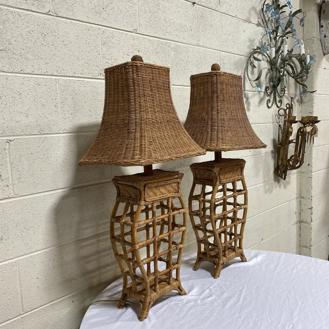 Asian Asian Style Wicker Lamps - Pair For Sale - Image 3 of 13