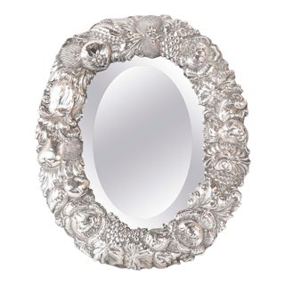 19th Century English Silver Plated Oval Table Mirror For Sale
