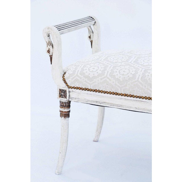 Baker Furniture Company Long Painted Swan Neck Bench For Sale - Image 4 of 8