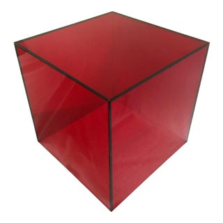 Haziza Lucite Cube End Table in Red For Sale