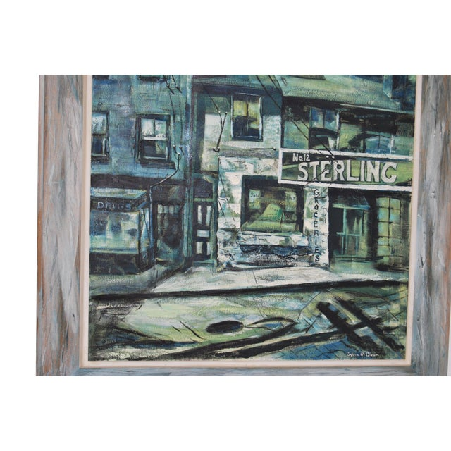 1960s Blue-Tone Oil Painting For Sale - Image 9 of 9