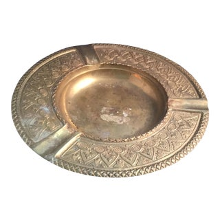 Solid Brass Etched Ashtray For Sale