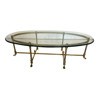 1970s Oval Regency LaBarge Brass & Glass Coffee Table Hoof Feet For Sale