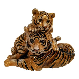Gold and Swarovski Crystal Mother and Cub Tiger Figure by Jay Strongwater For Sale
