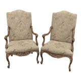 Image of Late 20th Century Vintage Louis XV Style Tapestry Armchairs- A Pair For Sale