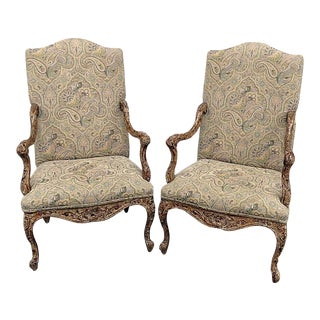 Late 20th Century Vintage Louis XV Style Tapestry Armchairs- A Pair For Sale