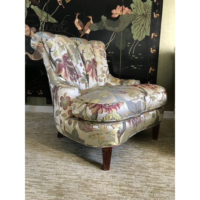 Pullman 1940s Pullman Armless Floral Silk Upholstered Slipper Chairs - a Pair For Sale - Image 4 of 13