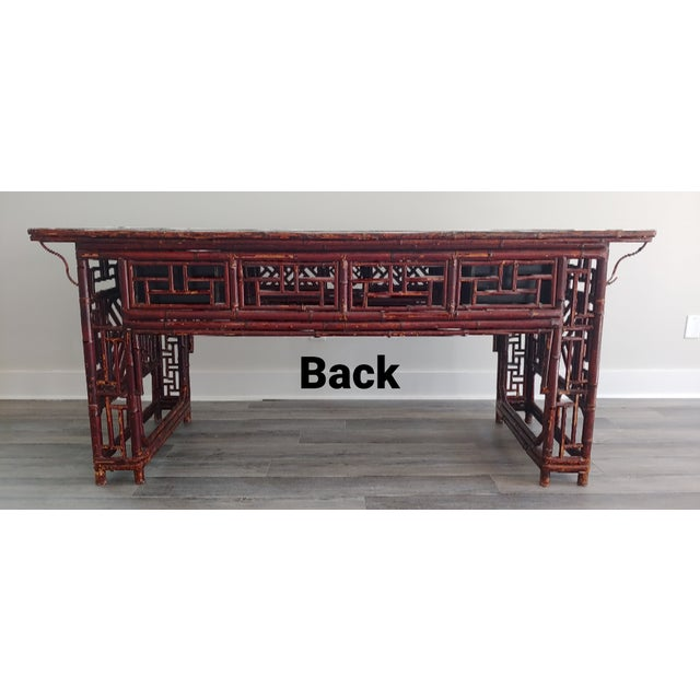 Late 19th Century Antique Chinese Chippendale Frettwork Altar Console Table For Sale - Image 5 of 13