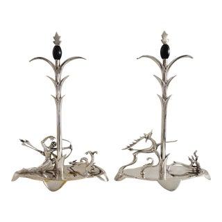1920s Art Deco Silver Sculptures, H. Ottmann - a Pair For Sale