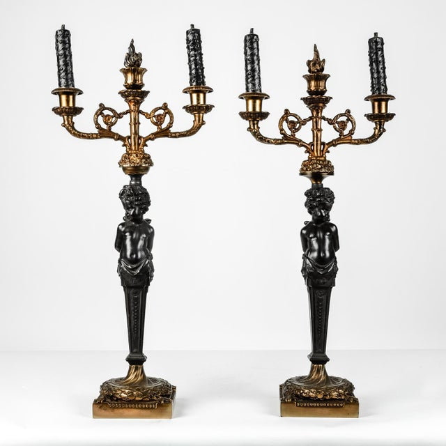 Bronze Pair of Antique French Bronze Candelabras For Sale - Image 7 of 7