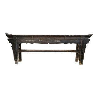 Old Shanxi Black Altar Console Table For Sale