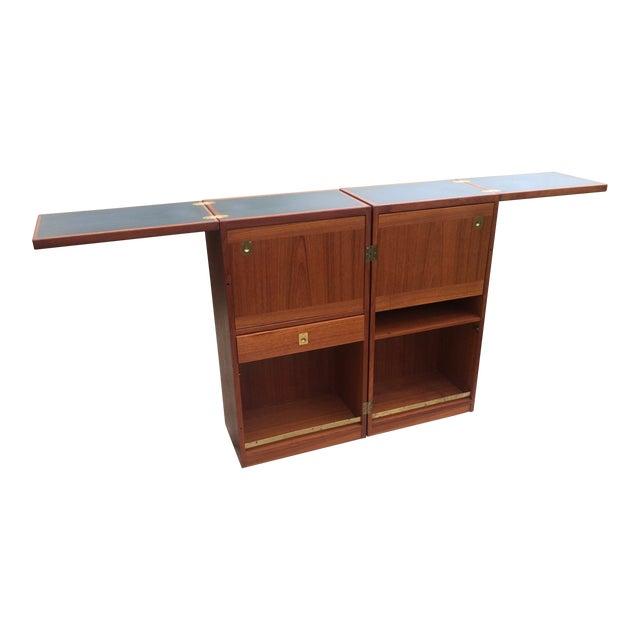 1960s Vintage Danish Modern Teak Folding Bar Cabinet For Sale