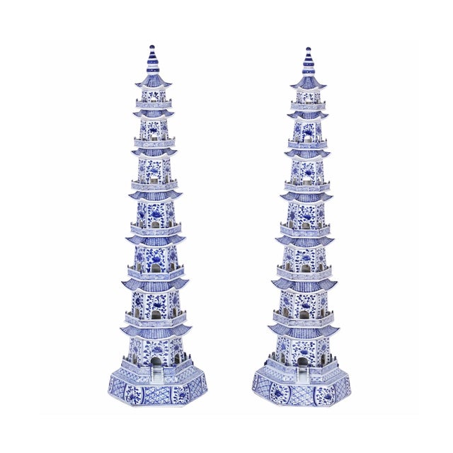 Chinese Blue and White Porcelain Pagodas - a Pair For Sale - Image 13 of 13