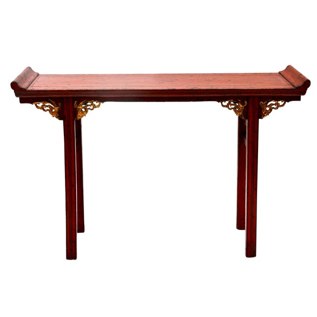 19th C Chinese Red Lacquered Altar Table With Gold Detail For Sale