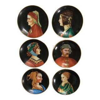 Vintage Mid-Century Italian Hand-Painted Porcelain Portrait Plates - Set of 6 For Sale