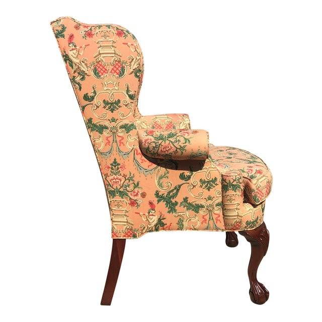 Chinoiserie Wingback Chairs - a Pair For Sale - Image 4 of 5