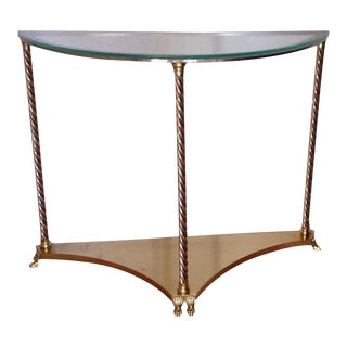 Hollywood Regency Brass and Glass Demi-Lune Console Table Maison Jansen Style 36 Wide For Sale