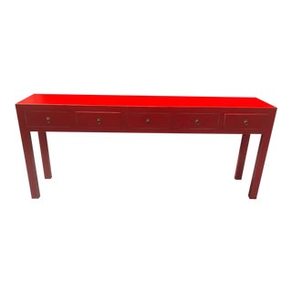 Asian Distressed Red 5 Drawer Console Table For Sale
