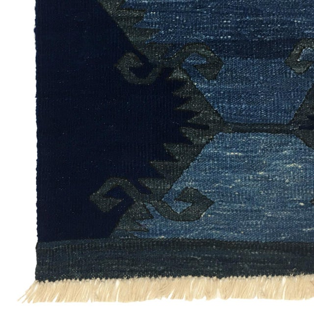 Boho Chic Rug & Relic Indigo-Dyed Yeni Kilim Runner | 2'7 X 9'9 For Sale - Image 3 of 6