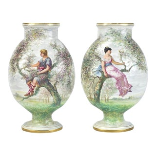19th Century French St. Denis Porcelain Vases - a Pair For Sale