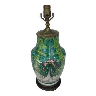 19th Century Asian Antique Porcelain Cabbage Leaf Lamp