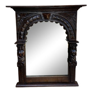 Antique English Mirror Renaissance Revival Oak Framed Wall Mirror For Sale