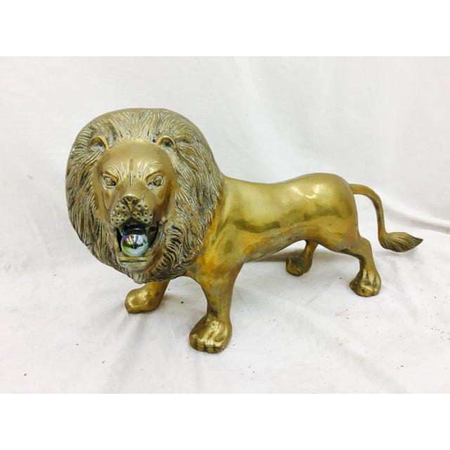 Vintage Brass Lion Sculpture For Sale - Image 5 of 10
