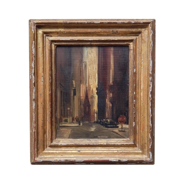 Realism Oil of Wall Street For Sale - Image 3 of 8