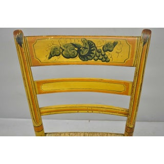 Early 19th C Bentwood Slat Back Rush Seat Yellow Paint Stenciled Dining Chair Preview