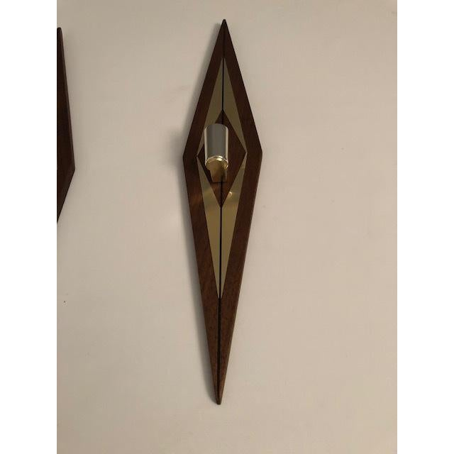 1970s Mid-Century Modern Candle Wall Sconces - a Pair For Sale In New York - Image 6 of 7