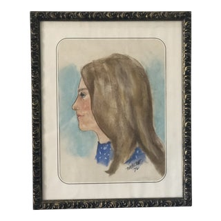 1970s Vintage Portrait of a Girl Chalk Drawing For Sale