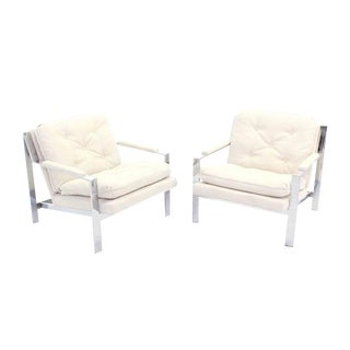 Pair of Chrome Lounge Chairs with New Upholstery For Sale