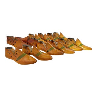 Mid 20th Century Collection of Vintage Wooden Cobbler Shoe Forms - Set of 12 For Sale