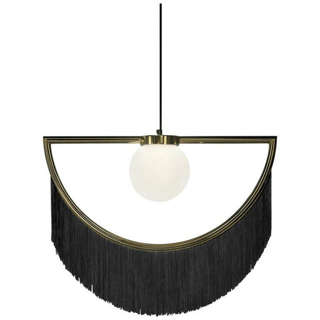 Not Yet Made - Made To Order Wink Gold-Plated Pendant Lamp With Black Fringes For Sale - Image 5 of 5