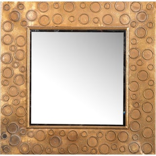 Gold Metal Square Wall Mirror For Sale