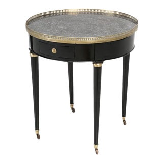 Antique French Round Ebonized Side or End Table For Sale