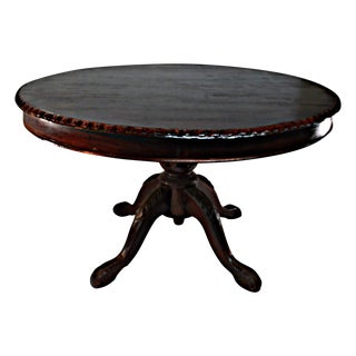 Ornate Mahogany Round Dining Table For Sale