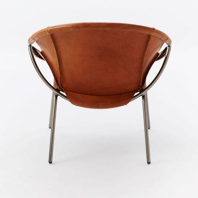 West Elm Dries Leather Sling Chair Chairish