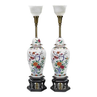 Billy Haines Style Chinese Pottery Ginger Jar Lamps - A Pair For Sale