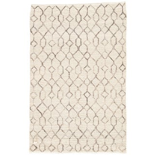 Nikki Chu by Jaipur Living Leda Natural Trellis White & Gray Area Rug - 5' X 8' For Sale