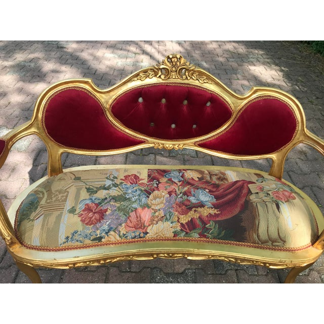 2010s French Gobelin With Burgundy/Red Velvet Louis XVI Style Sofa For Sale - Image 5 of 7