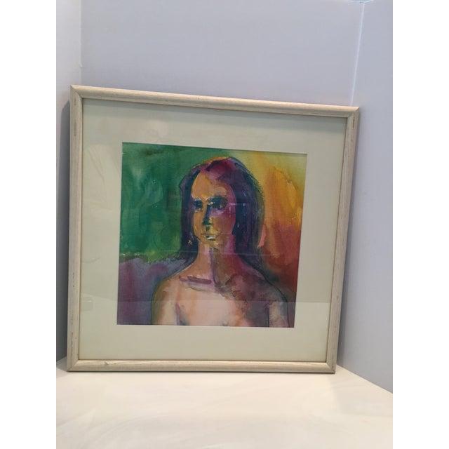 "Portraiture ""Self Portrait"" Contemporary Watercolor Painting For Sale - Image 3 of 5"