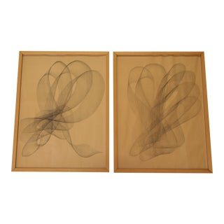 Vintage Abstract Graphite Drawings - Set of 2 For Sale