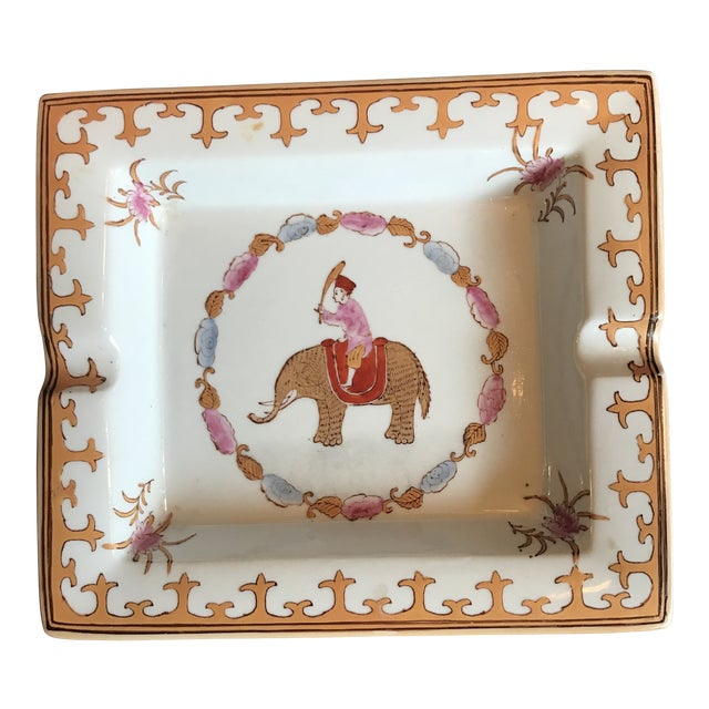Porcelain Hermes Style Cathall Hand Painted Tray Depicting Elephant For Sale