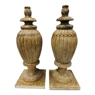 Late 20th Century Carved Wooden Bulb Shaped Architectural Pieces - a Pair For Sale