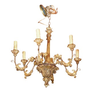19th century Italian Gilt Wood Chandelier For Sale