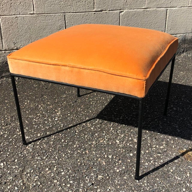 Mid-Century Modern Iron & Orange Velvet Upholstered Stool by Paul McCobb For Sale - Image 3 of 7