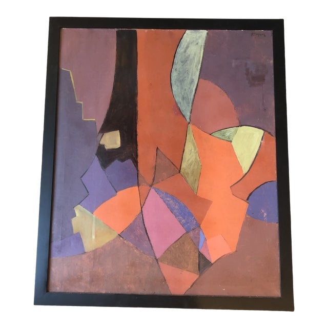 Vintage Original Geometric Abstract Painting 1950's Signed 33 X 39 For Sale